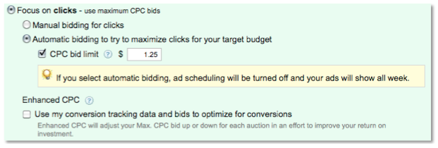AdWords Automatic Bidding for Clicks