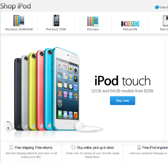 The Apple iPod store page