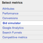 Bid simulator columns in AdWords