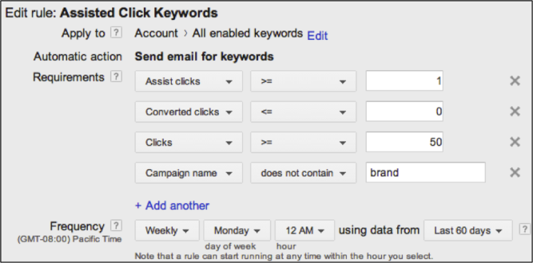 Image of AdWords automated rule
